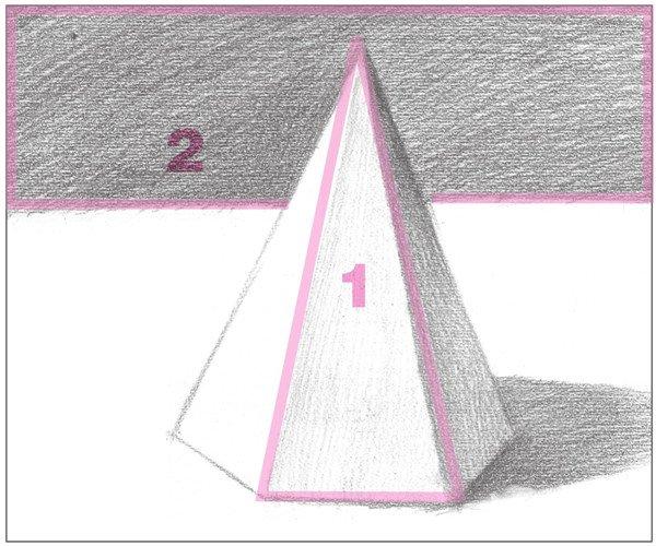 7、由暗面慢慢向灰面过渡,细致刻画物体的灰面调子。塑造形体。  素描六棱锥绘画步骤7 使用2B铅笔,以较密的排线,对物体的灰面进行刻画。  素描六棱锥绘画步骤7-1 使用6B铅笔,对后方背景的暗部调子进行刻画。注意排线的方向。  素描六棱锥绘画步骤7-2 8、使用2B铅笔,画出物体左侧平面的暗部调子。注意排线的疏密。  素描六棱锥绘画步骤8