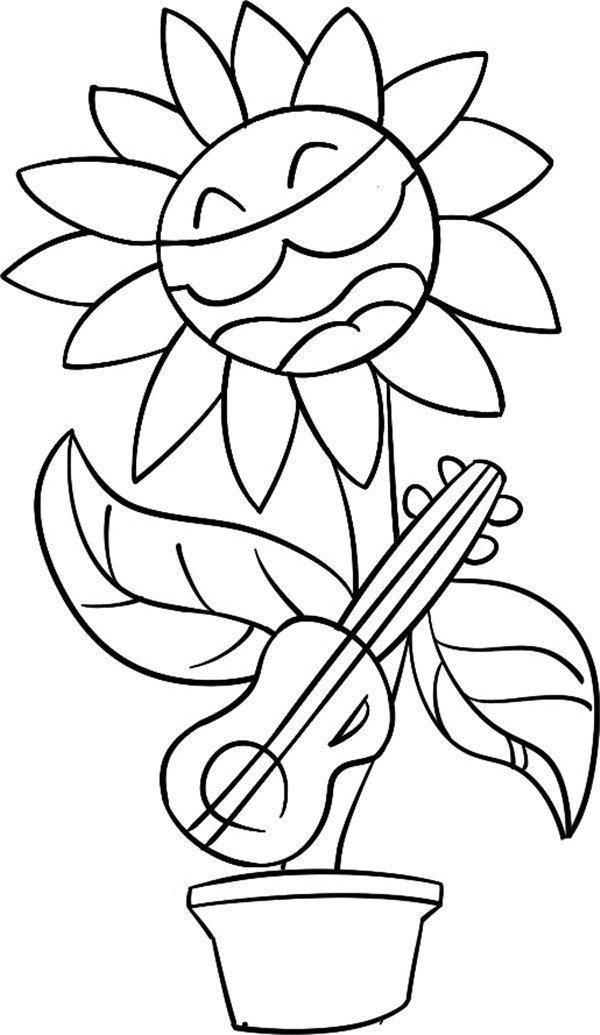 趣味简笔画弹吉他的花儿(4)_儿童画教程_学画画_我爱