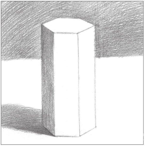 素描六棱柱的绘画步骤(2)