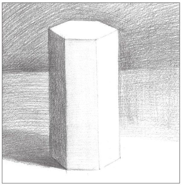 北京画室_素描六棱柱的绘画步骤