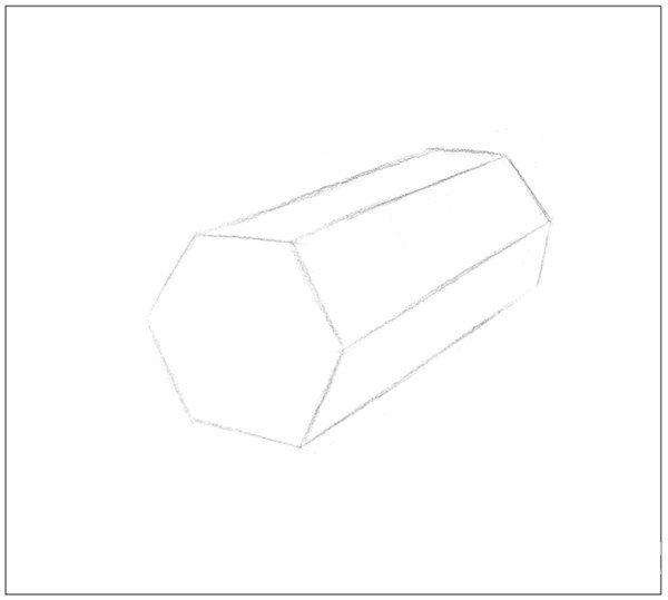 素描六棱柱的绘画步骤(6)