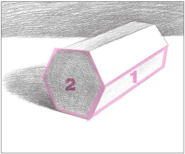 素描六棱柱的绘画步骤(7)