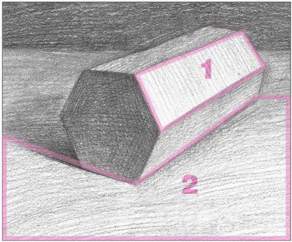 六棱柱素描详细步骤图_素描六棱柱步骤图片