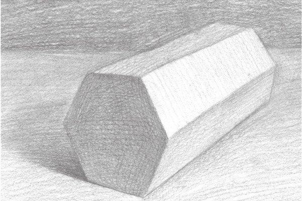 素描六棱柱的绘画步骤