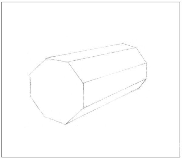 1、使用2B铅笔,画出物体的基本轮廓。注意物体的透视变化。  素描八棱柱绘画步骤1 2、用直线画出物体背景的水平线。注意画面构图要合理。  素描八棱柱绘画步骤2 3、依据光源位置,画出物体在平面上的投影位置。注意投影的形状。  素描八棱柱绘画步骤3