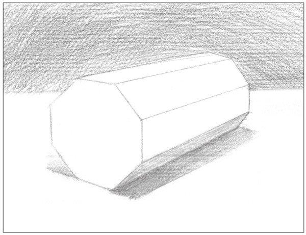素描八棱柱绘画步骤5