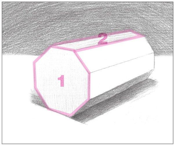 7、对物体的各个灰面进行刻画。注意排线方向与形体的结构。  素描八棱柱绘画步骤7 使用2B铅笔,对物体前端的灰面进行细致刻画。以较密的排线画出。  素描八棱柱绘画步骤7-1 使用4B铅笔,对物体顶端的灰面进行细致刻画。注意拉开明暗对比。  素描八棱柱绘画步骤7-2 8、使用4B铅笔,对物体的暗部调子进行统一刻画,增强画面统一感。  素描八棱柱绘画步骤8