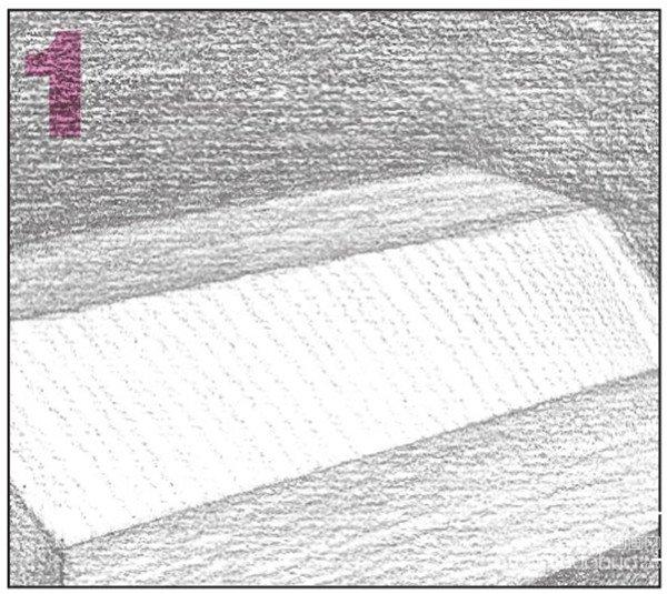 9、使用2B铅笔,画出物体右侧平面的暗部调子,注意排线的方向与密度。  素描八棱柱绘画步骤9 10、对画面进行整体的调整,使黑白灰色调关系、透视关系更加统一。  素描八棱柱绘画步骤10 使用2B铅笔,细化物体的亮部调子。注意体现物体的质感。  素描八棱柱绘画步骤10-1 对画面调子进行整体的铺设。注意排线的疏密变化。  素描八棱柱绘画步骤10-2 横构图时要特别注意把握好物体的透视关系。同时构图也要合理安排,画面大小要适当,突出主体物,使画面具有空间感。