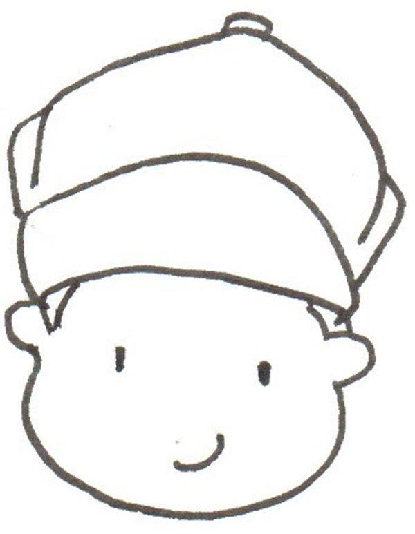 卡通画小男孩的绘画步骤二                      ②画脸.