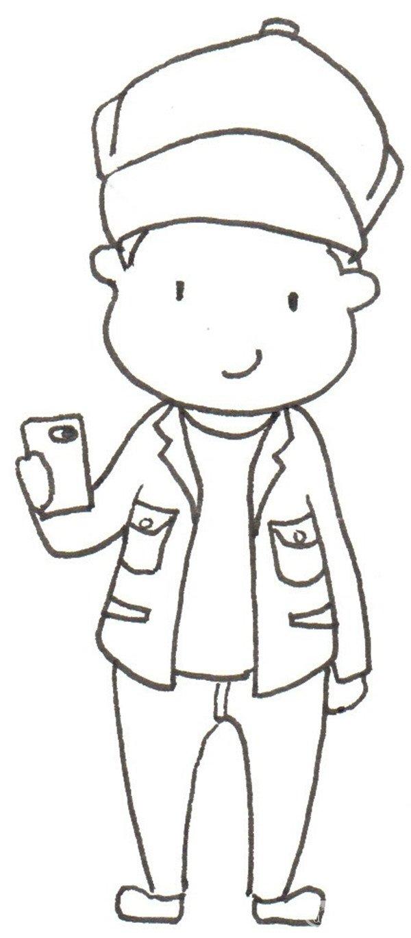 卡通画小男孩的教程绘画(4)头发再短一点图片