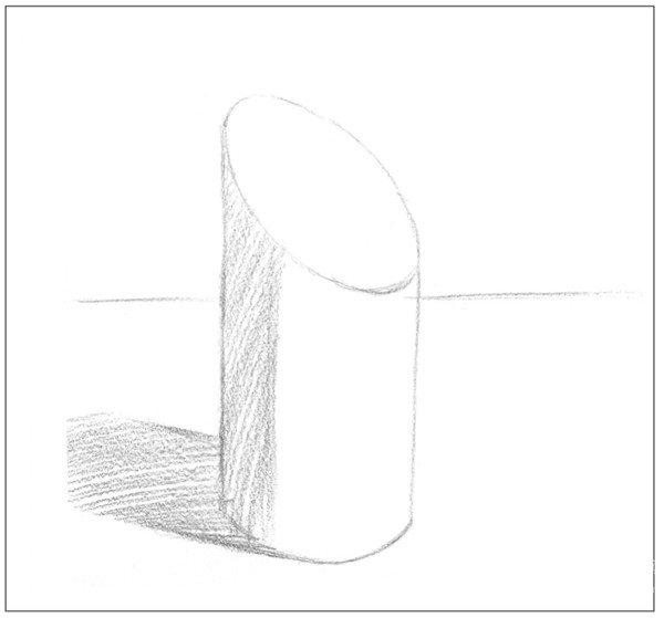 素描斜面圆柱绘画步骤4