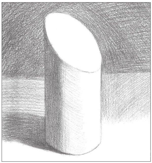 素描:斜面圆柱绘画技巧(4)_素描教程_学画画_我爱画画