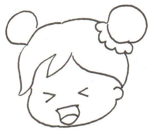 卡通画小女孩的绘画步骤二                      ②画脸.