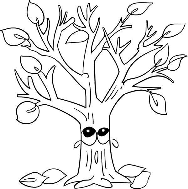 画上少许的树叶 趣味简笔画:凋零的树绘画步骤四 四个轻松简单的步骤