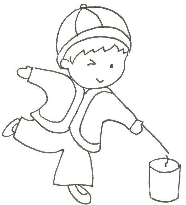卡通画:放烟花的绘画步骤(2)_儿童画教程_学画画_我爱