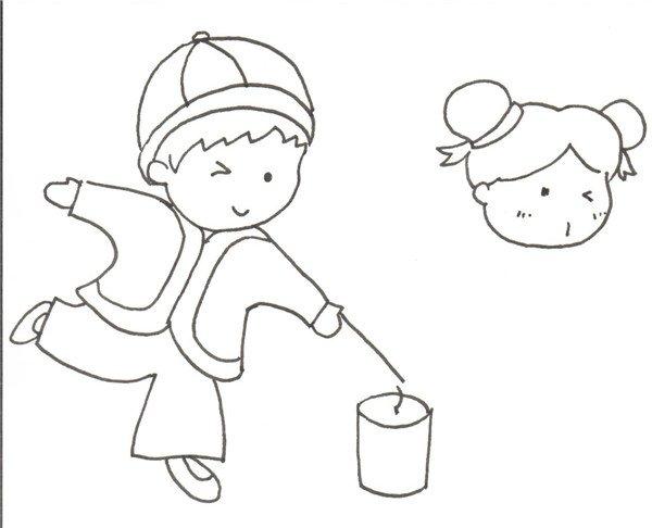 卡通画:放烟花的绘画步骤(2)