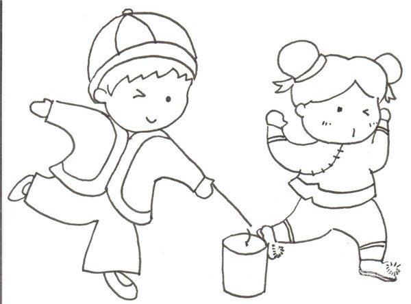卡通画:放烟花的绘画步骤(3)