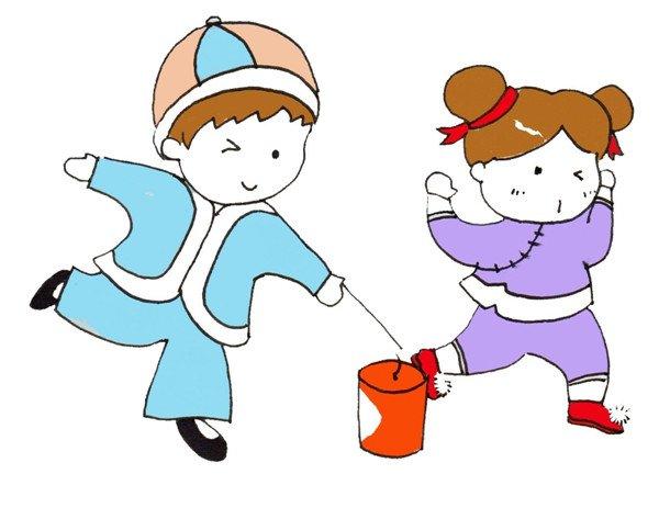 画出小女孩手捂着耳朵的动作。  卡通画放烟花的绘画步骤五 给小男孩的衣服涂上蓝色,给小女孩的衣服涂上紫色,给烟花涂上红色。  卡通画放烟花的绘画步骤六  继续上色,完成。  卡通画放烟花的绘画步骤七 过年玩烟花要注意安全哦~
