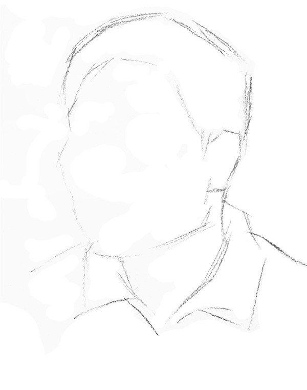 男性头部速写绘画步骤一 2,定好三庭五眼,注意要准确运用透视线.