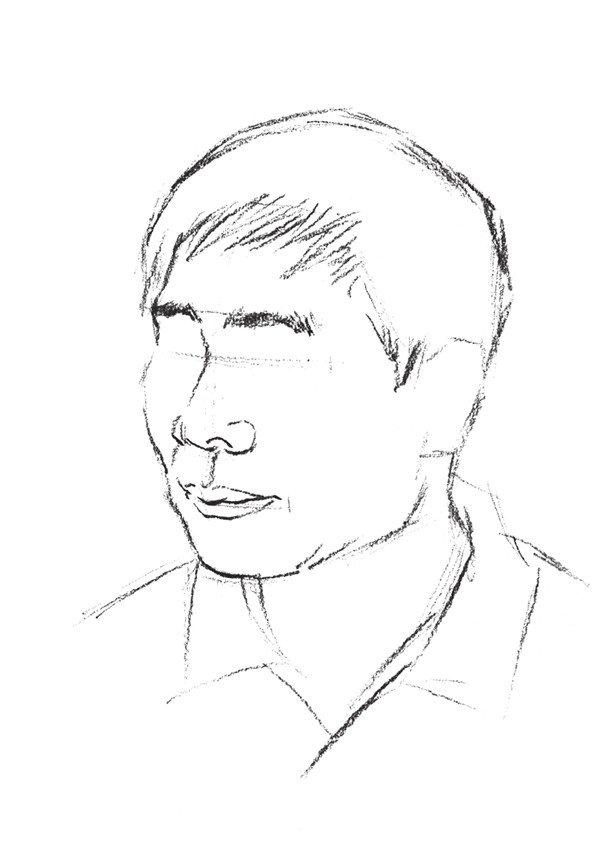 男性头部速写绘画步骤三
