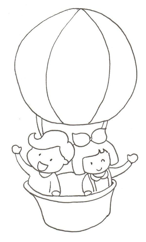卡通画:热气球绘画步骤(2)
