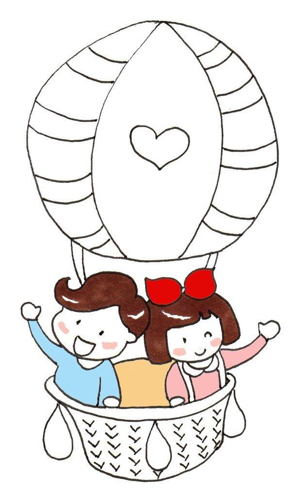 卡通画:热气球绘画步骤(3)_儿童画教程_学画画_我爱