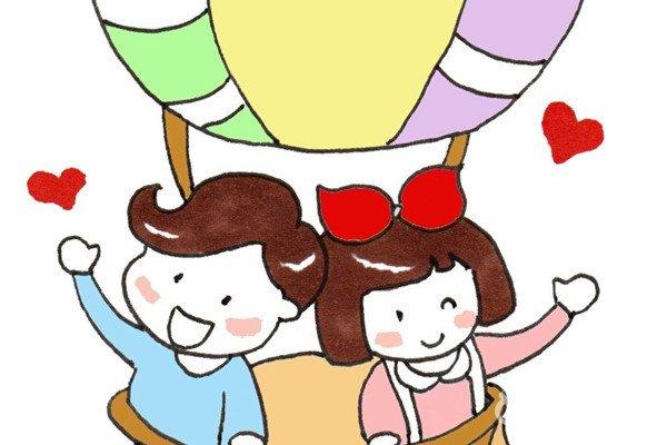 卡通画:热气球绘画步骤