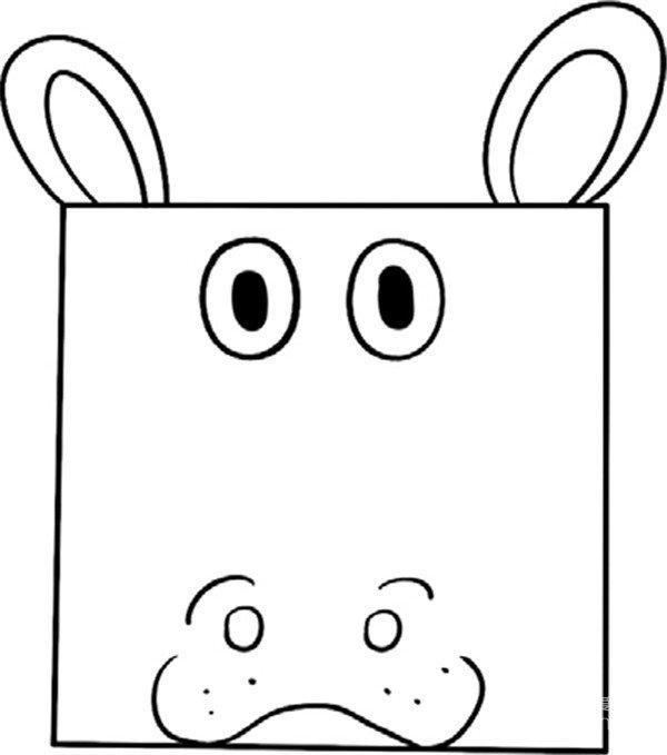 趣味简笔画:可爱的河马绘画步骤(4)