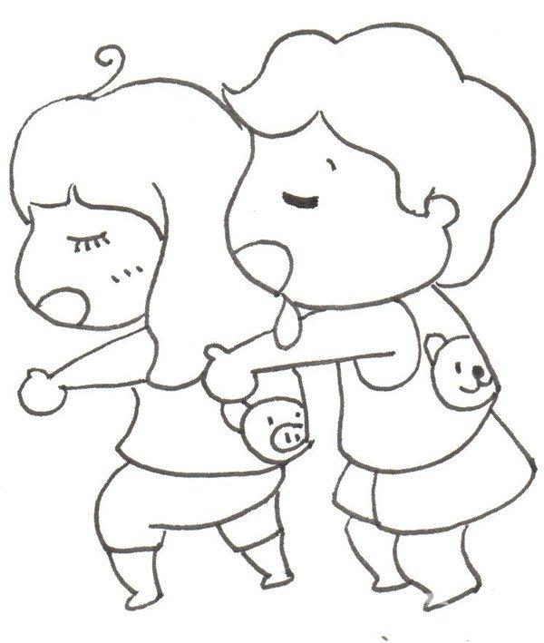 卡通画午睡的绘画步骤四 ⑤紧挨着妹妹的头画出毛绒熊的脑袋.