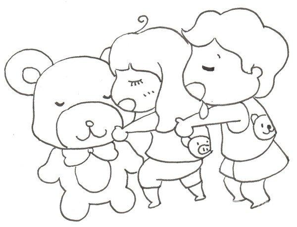 卡通画午睡的绘画步骤六