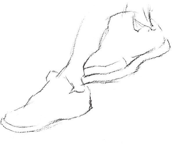 速写人物脚,鞋的绘画步骤