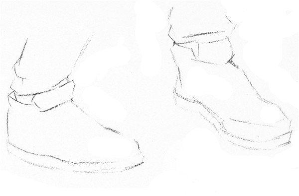 速写人物脚,鞋的绘画步骤(3)