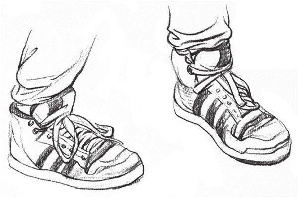 速写人物脚、鞋的绘画步骤