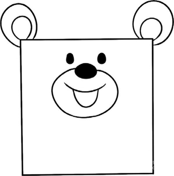 趣味简笔画:开心的小熊绘画步骤(3)