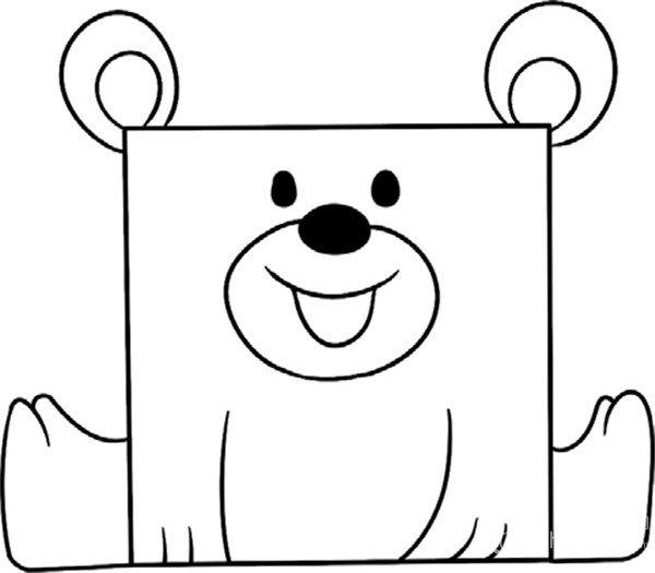 趣味简笔画:开心的小熊绘画步骤(4)