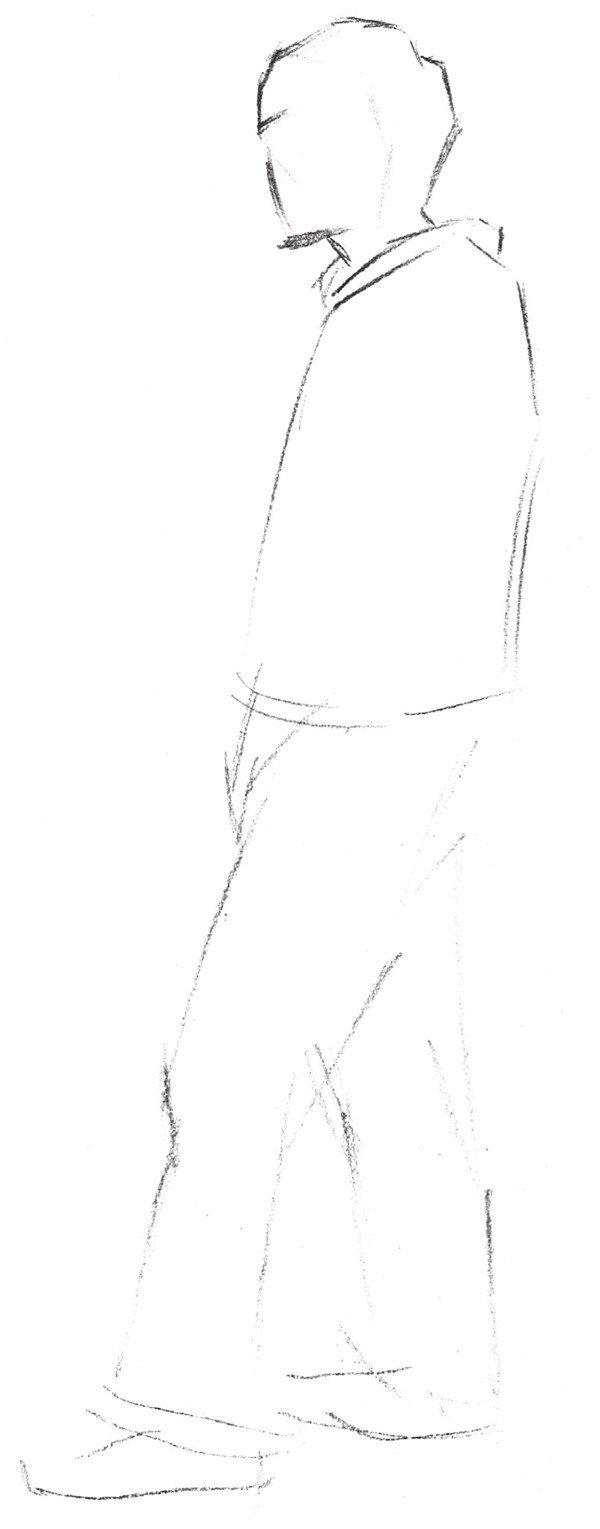 光影速写步骤 1、先勾大轮廓。  光影速写步骤一 2、将全身比例姿态进一步明确。  光影速写步骤二 3、从头开始画起,涂头发固有色,将衣纹裤褶线简单勾一下。  光影速写步骤三 4、进行细节刻画,注意光影的表现,低点、凹陷及背光灯部分要稍加涂抹颜色。  光影速写步骤四  完成图