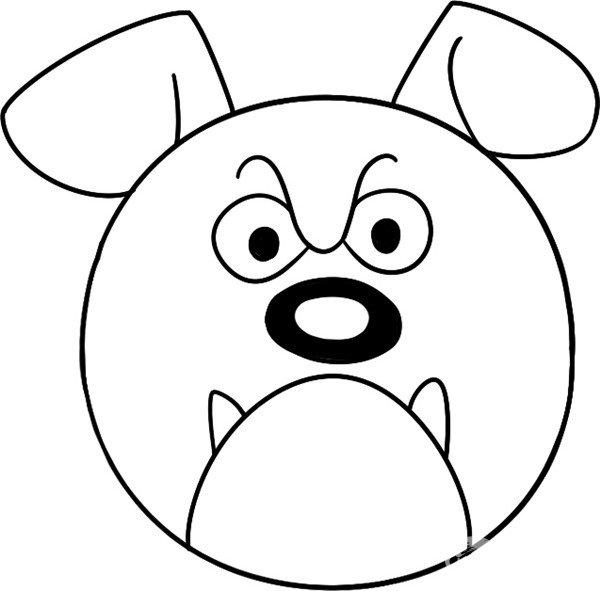 趣味简笔画 滑稽的牛头犬绘画步骤 4