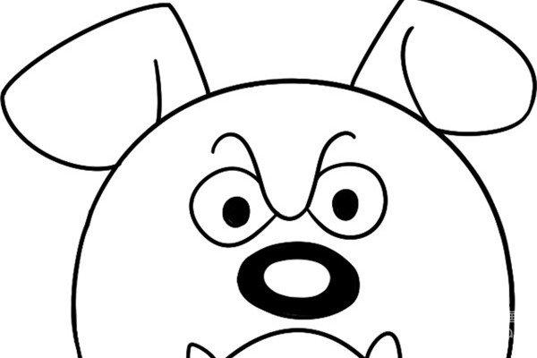 趣味简笔画:滑稽的牛头犬绘画步骤