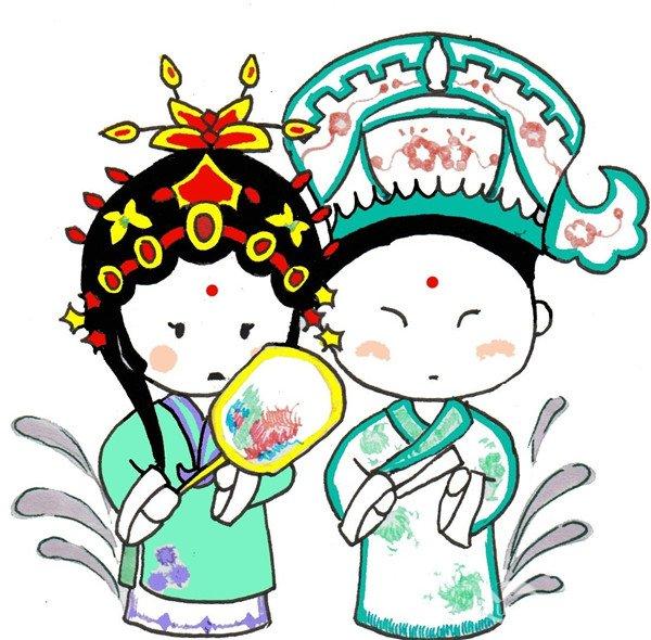 卡通画:京剧演员的绘画步骤(4)图片