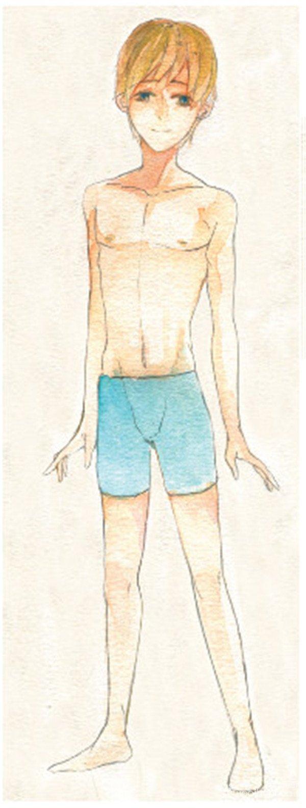 > 水彩画绘制男性皮肤的肌肉感(4)      4,用橙黄色画出头发的底色,用