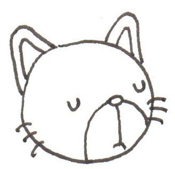 卡通画,花猫的绘画步骤(2)_儿童画教程_学画画_我爱