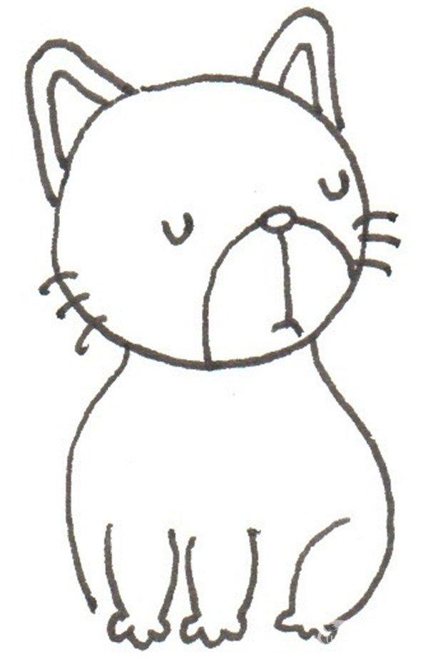卡通画,花猫的绘画步骤(2)