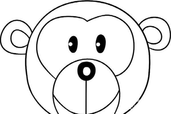 趣味简笔画:圆脸的猴子绘画步骤