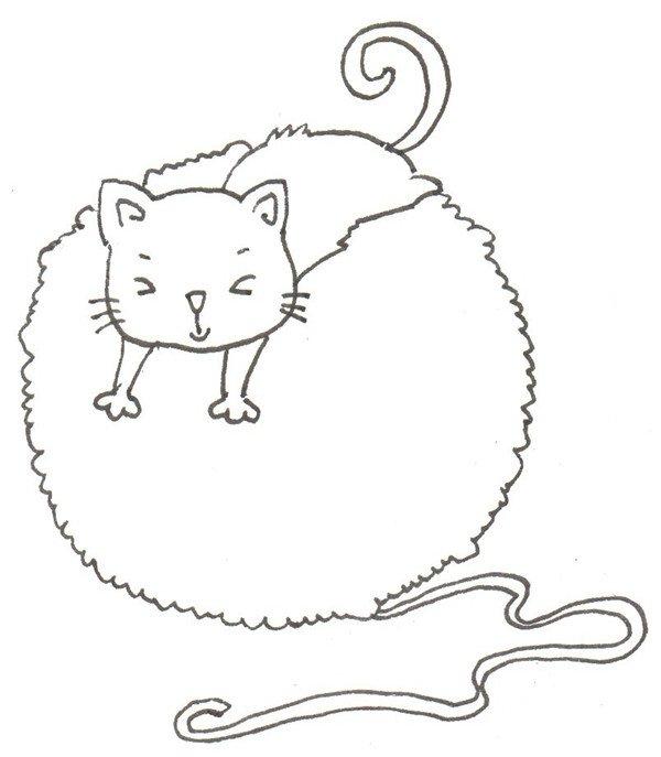 卡通画:猫咪和线团的绘画步骤_儿童画教程_学画画_我