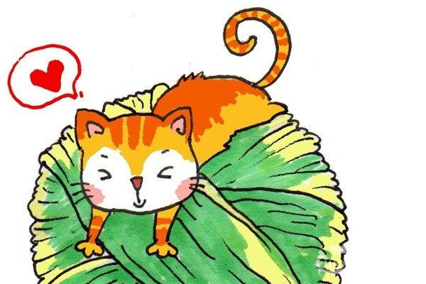 卡通画:猫咪和线团的绘画步骤