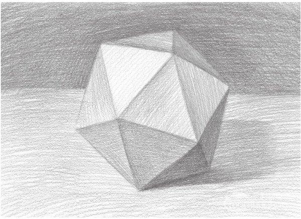 素描石膏像 > 素描:二十面体绘画技巧      二十面体是一种由12个角顶