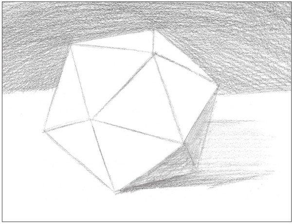 素描二十面体绘画步骤5