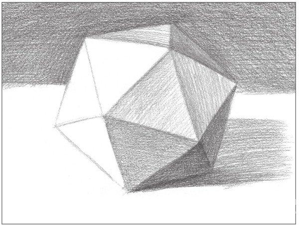 8、使用4B铅笔,画出物体左侧下方的灰面调子。以较密的排线方式绘画。  素描二十面体绘画步骤8 9、使用2B铅笔,画出物体顶端与正前方块面的灰部调子。  素描二十面体绘画步骤9 10、深入刻画整体画面。从整体到局部地进行细节调整。  素描二十面体绘画步骤10 使用2B铅笔,画出物体的亮面调子。注意对形体的塑造。  素描二十面体绘画步骤10-1 对物体左侧次亮调子进行刻画,并画出画面的整体调子。  素描二十面体绘画步骤10-2 注意要对整幅画面的暗部和亮部细致刻画,逐步塑造出对象的体积感。