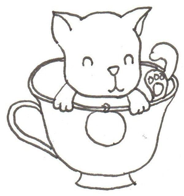 ②接着画狗狗的手和杯子边缘.    ③再画出杯身和手柄.