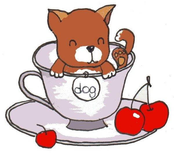 卡通画茶杯犬的绘画步骤六 ⑦给杯子和樱桃上色,完成.